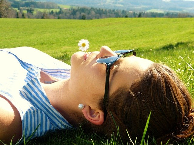 Young Woman, Meadow, Concerns, Rest, Relax, Girl