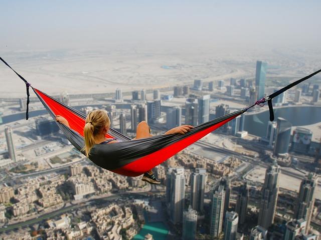 Dubai, Hammock, Girl, Relaxation, No Fear Of Heights
