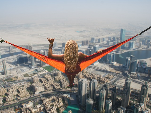 Dubai, Hammock, Girl, Relaxation, No Fear Of Heights