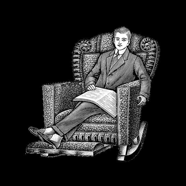 Man, Armchair, Vintage, Art, Relaxing, Newspaper, Male