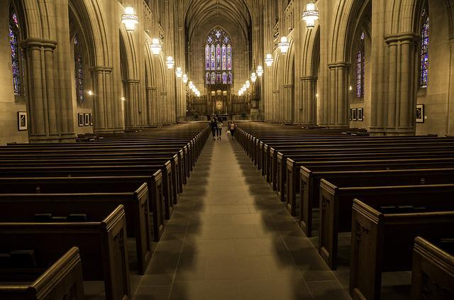 Chapel, Religion, Cathedral, Duke Chapel, Lights, Pews