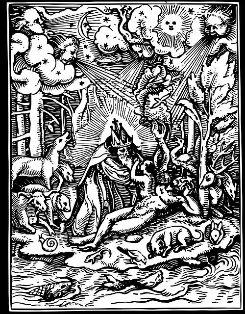 Creation, Religion, Faith, Christianity, Woodcut