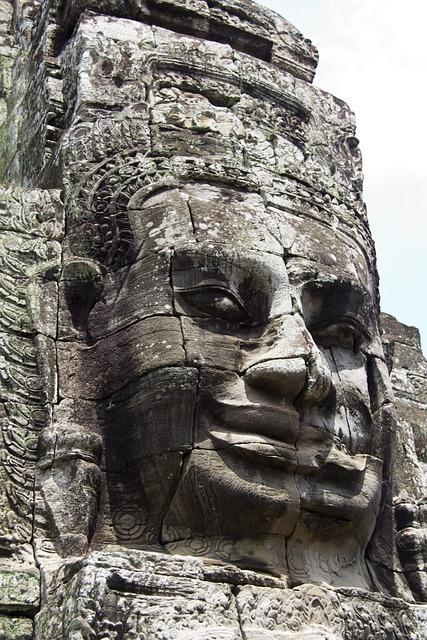 Cambodia, Angkor Wat, Statue, Head, Face, Religion
