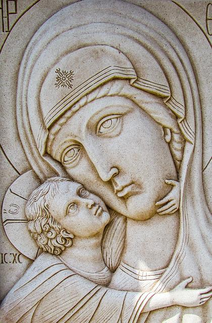 Engraving, Virgin Mary, Wall, Church, Stone, Religion