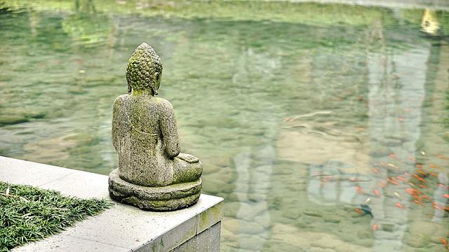 China, Buddha Statues, Religion, Sculpture, Water