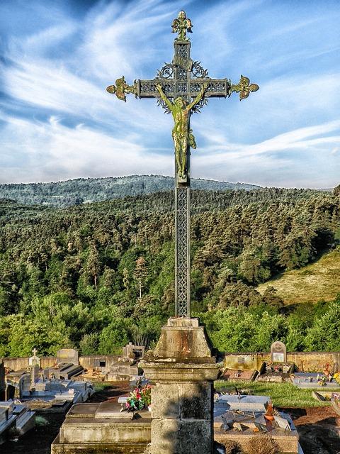 Puy-de-dome, France, Cross, Jesus Christ, Religious