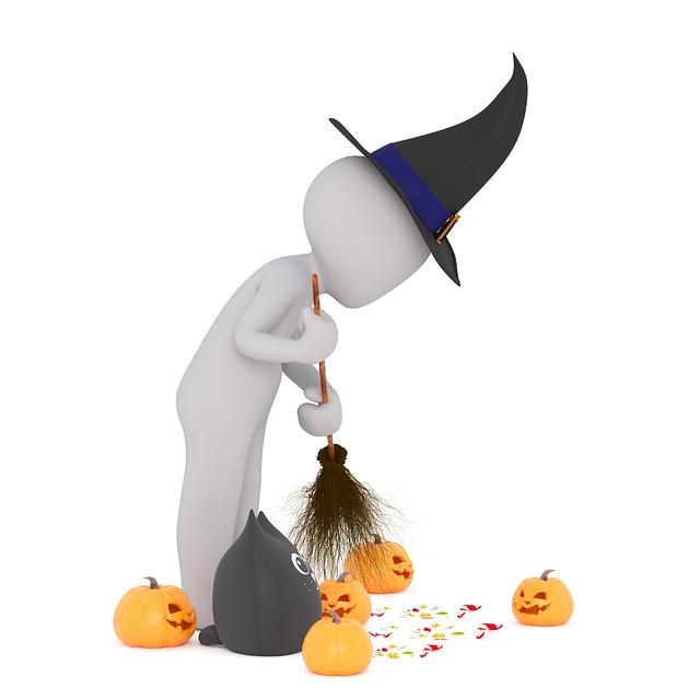 Halloween, Pumpkin, Hat, Cat, Sweep, Remains, Autumn