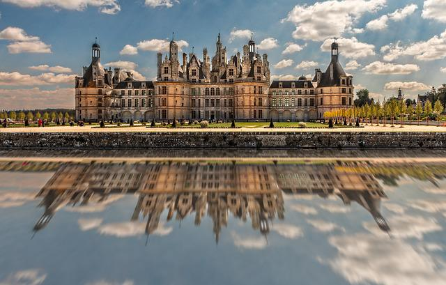 Chambord, Reflection, Castle, Architecture, Renaissance