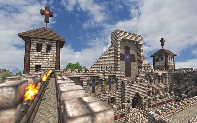 Minecraft, Castle, Render, Video Game, Building Blocks
