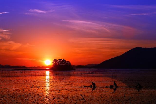 Korea, Glow, Sunset, Republic Of Korea, Beach, Sky