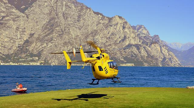 Take Off, Helicopter, Emergency, Lake, 118, Rescue