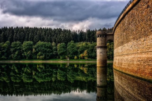 Reservoir, Dam, Water, Architecture, Barrier Wall