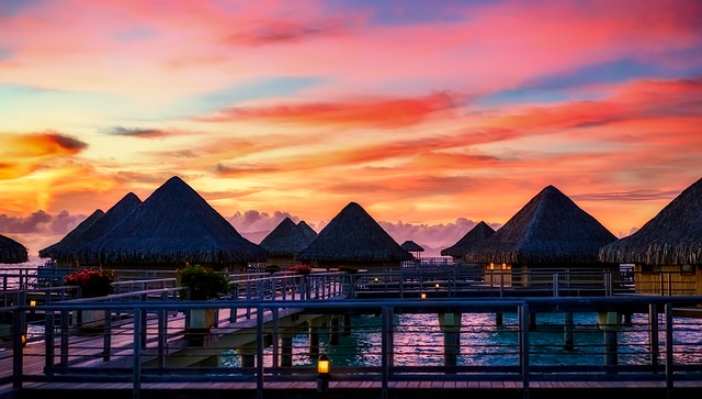 Bora Bora, French Polynesia, Resort, Huts, Sunset, Dusk
