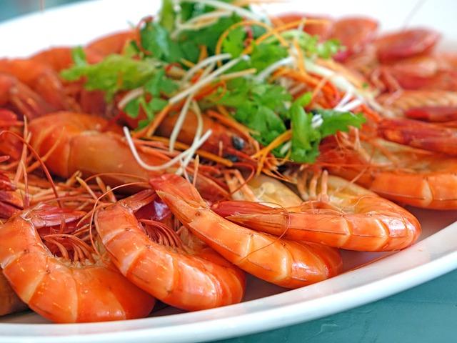 Prawns, Steamed, Seafood, Restaurant, Fresh, Chinese