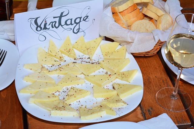 Vintage, Restaurant, Cheese, Wine, Bread, Table, Wood