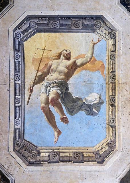 Christ, Resurrection, Jesus, Ceiling Painting, Catholic