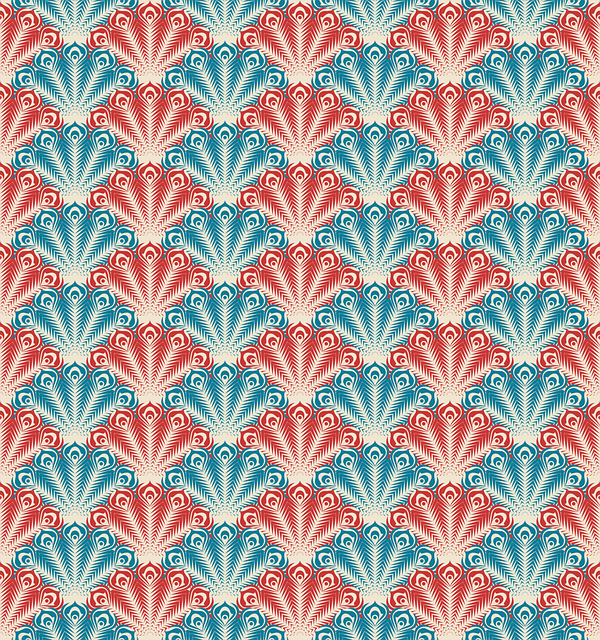 Seamless Patter, Peacock, Feathers, Blue, Red, Retro