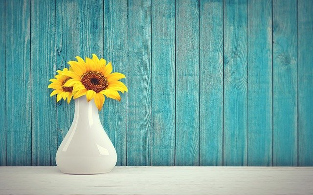 Sun Flower, Vase, Vintage, Retro, Wall, Wood, Flowers
