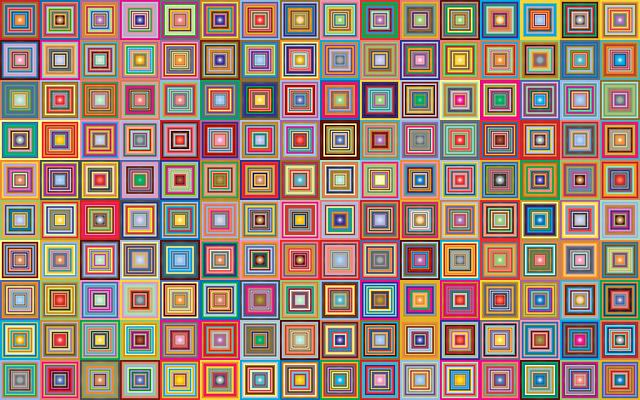 Retro, Squares, Abstract, Geometric, Art, Background