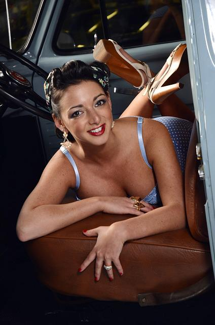 Pinup Girl, Pin-up, Happy, Female, Portrait, Retro