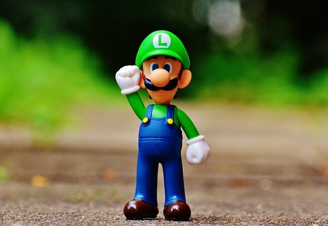 Luigi, Figure, Play, Nintendo, Super, Retro, Classic