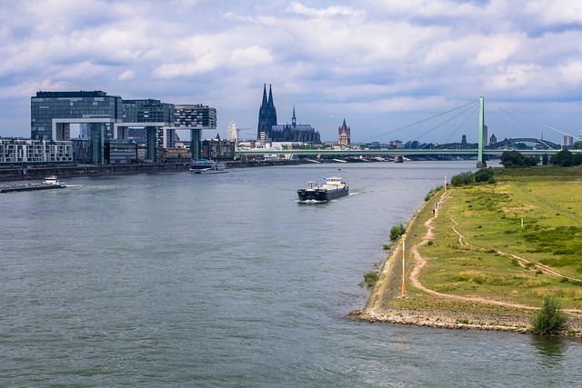 Rhine, Dom, Crane Homes, River, Church, Houses