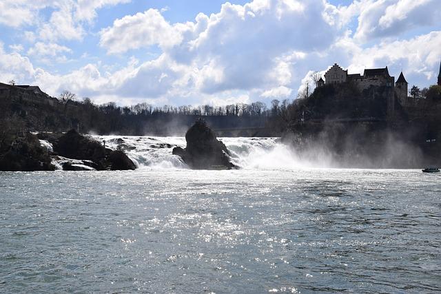 Rhine Falls, Waterfall, Back Light, Schaffhausen