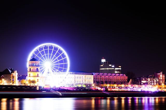 Düsseldorf, Ferris Wheel, Night, Rhine, Castle Tower