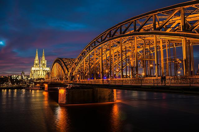 Cologne, Rhine, Night, Bridge, Dom, Cathedral, Church