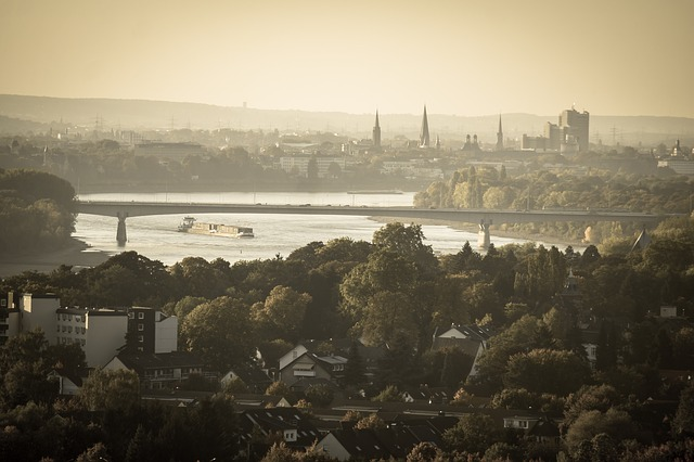 Bonn, Rhine, Bridge, Ship, Downtown, Distant, Outlook