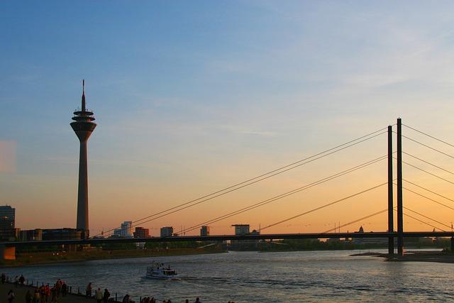 Rhine, Düsseldorf, Sunset, Rhine River, Rhine Panorama