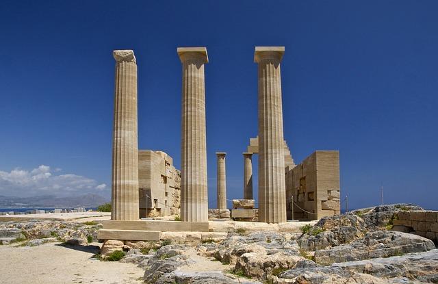 Temple, Athena, Lindia, Island, Rhodes, Greece