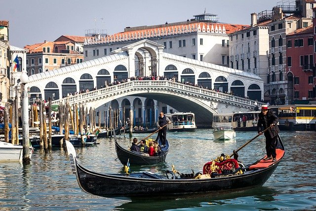 Venice, Rialto, Italy, Bridge, Grand Canal, Gondola