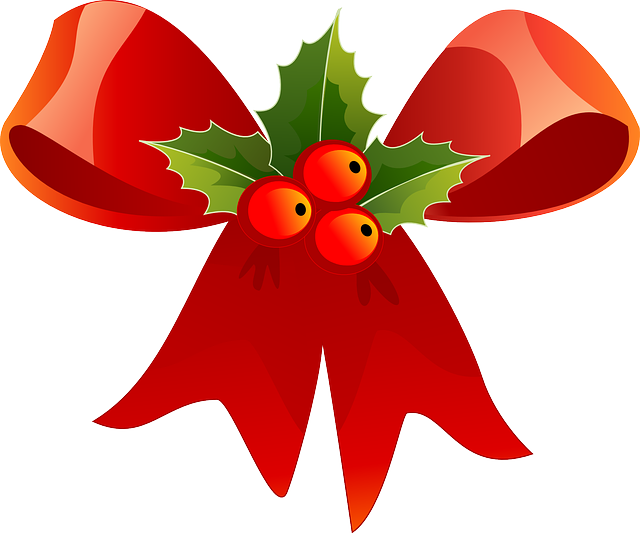 Christmas, Ribbon, Red, Holly, Green, Decoration, Berry