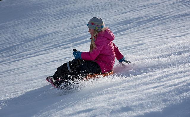 Child, Girl, Winter, Snow, Bob, Ride On, Slip, Downhill