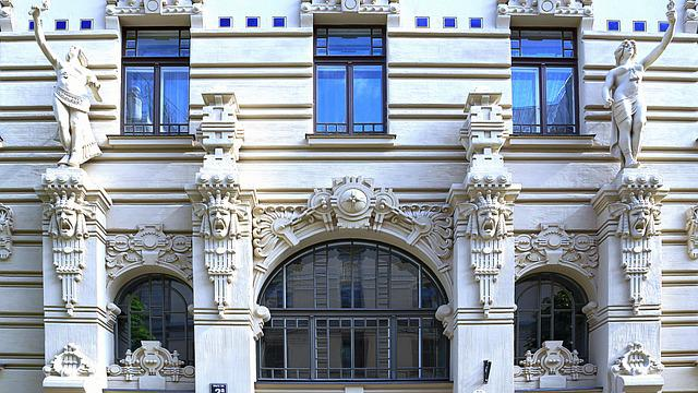 House Facade, Latvia, Riga, Art Nouveau, Architecture