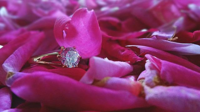 Ring, Wedding, Light, Soft, Roses, Gold, Crystal