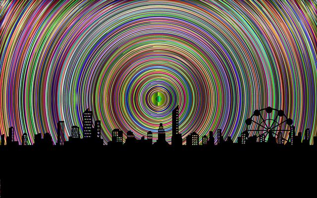 Skyline, Cityscape, Landscape, Concentric, Rings
