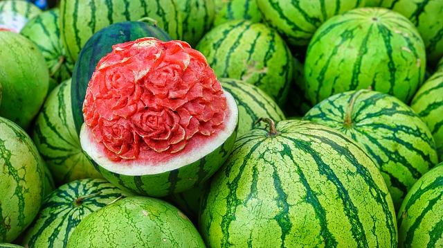 Water, Melons, Display, Carved, Flower, Ripe, Food