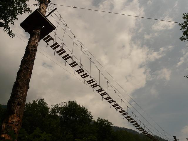 High Ropes Course, Bridge, Risk, Climb