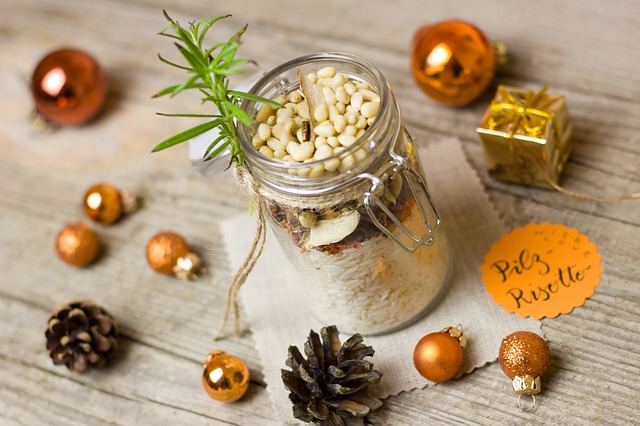 Risotto, Christmas, Glass, Tomatoes, Mushrooms, Gift