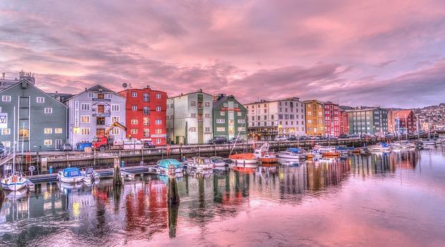 Trondheim, Norway, Sunrise, River, Architecture