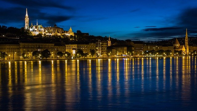 Budapest, Danube, River, Reflection, Water, At Night