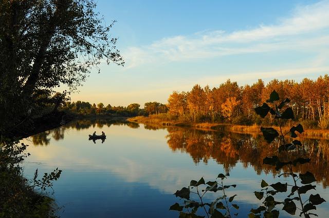 Autumn, Fishermen, Fishing, River, Boat, Landscape