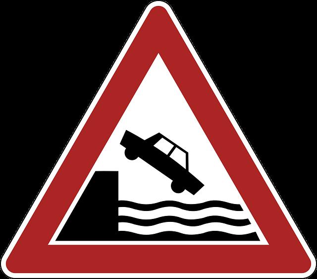 Quayside, River Bank, Caution, Sign, Danger, Safety
