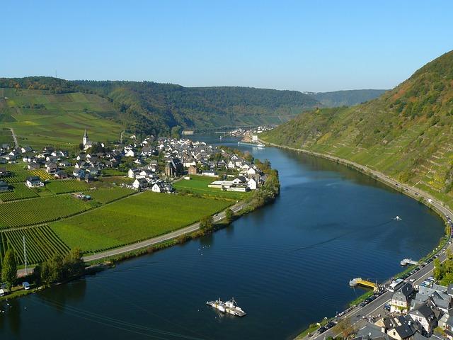 Mosel, River, Beilstein, Sachsen, Village, River Bend
