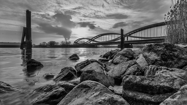 Waters, Black And White Photography, River, Bridge