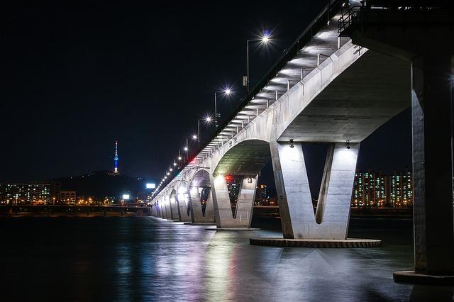 Bridge, Seoul, River, Large Bridge, Reflection, Light