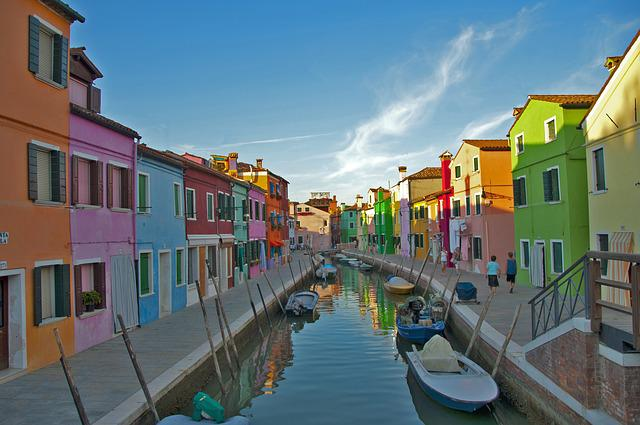 Venice, Burano, House, River, Colorful