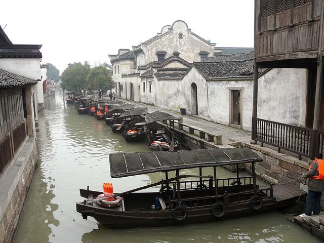 River, Wuzhen, Water Town, Tongxiang, China, Boat